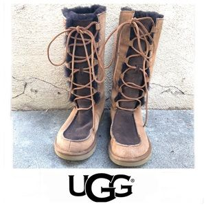 UGG Whitley Brown & Tan Suede Lace Up Boots Sz 8